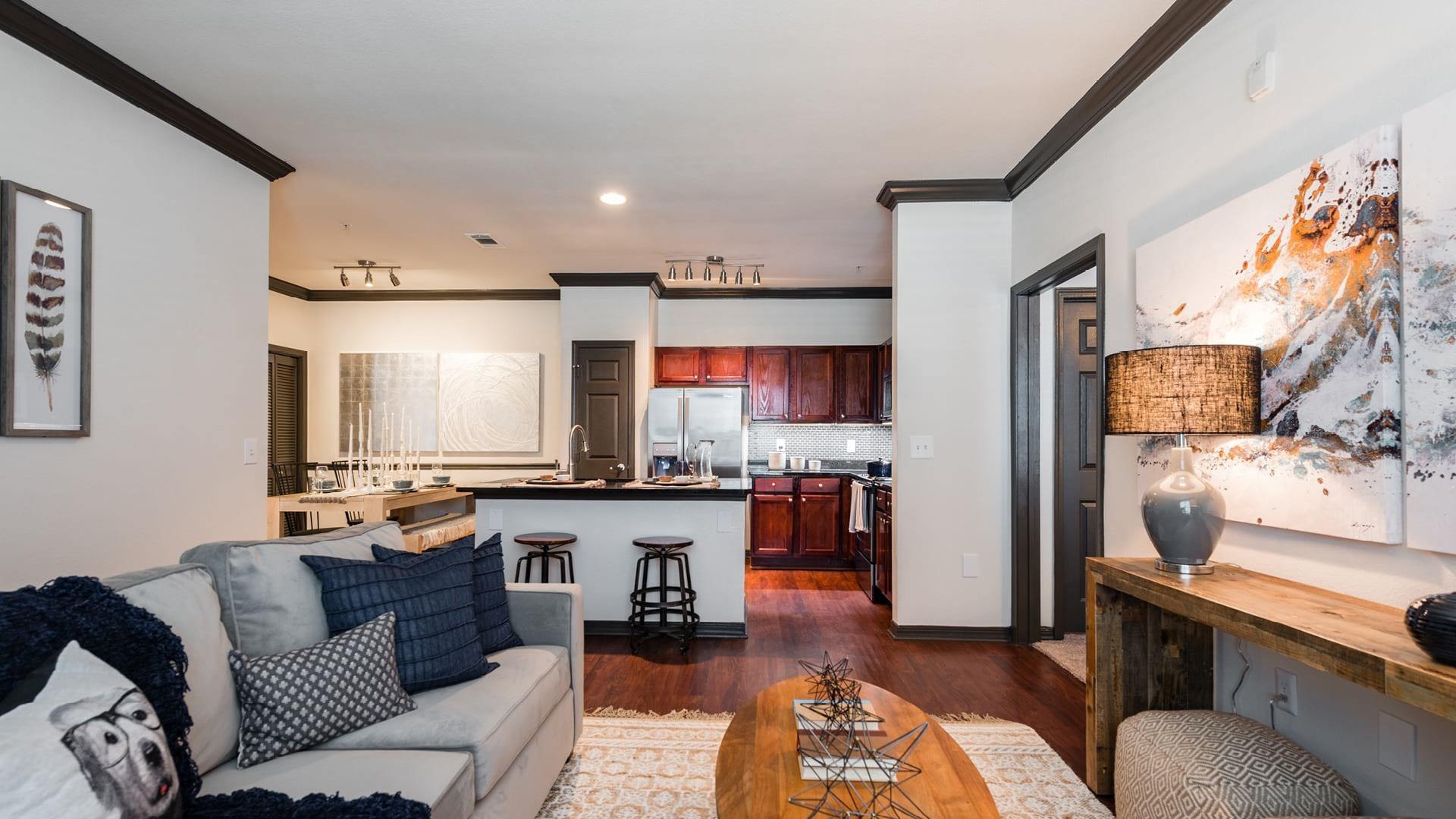 Spacious one bedroom apartment floor plan at Cortland Lakemont