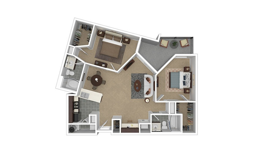 Apex 2 bedroom 2 bath 1029 square feet