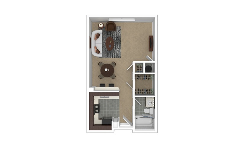Ascension Studio 1 bath 498 - 520 square feet
