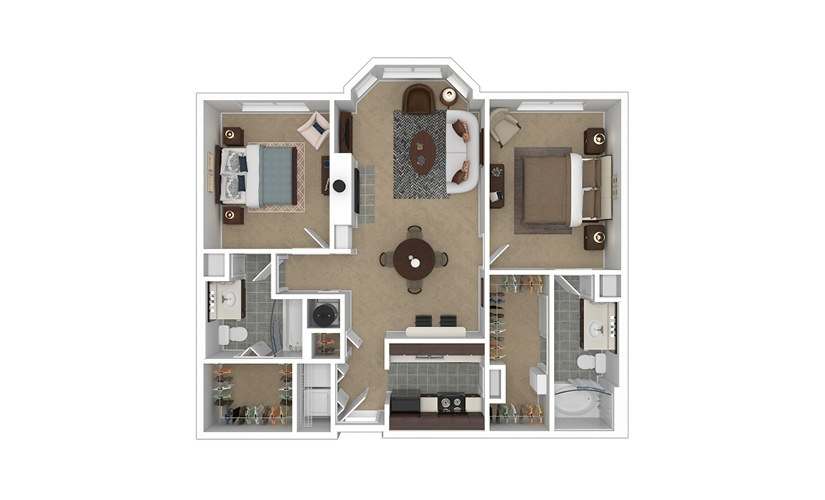 Crown 2 bedroom 2 bath 1060 - 1088 square feet