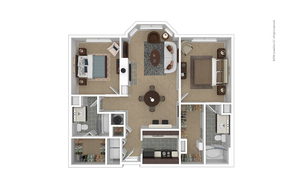 Crown 2 bedroom 2 bath 1060 - 1088 square feet
