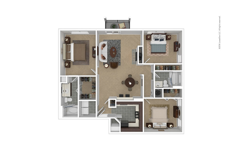 Meridian 3 bedroom 2 bath 1273 square feet