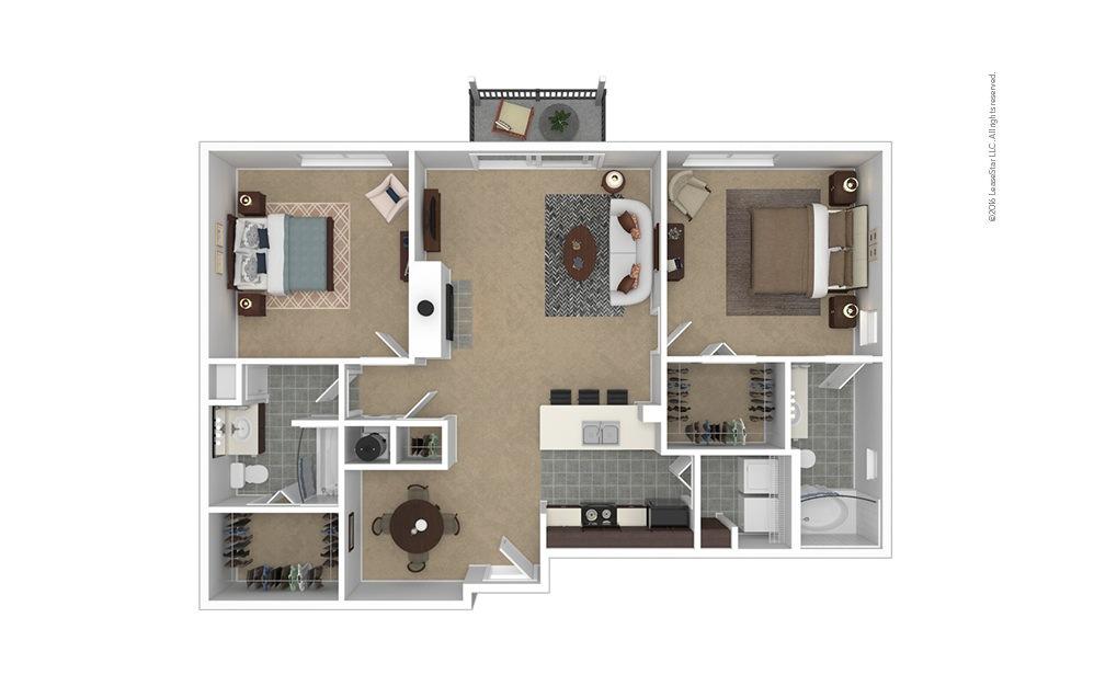 Peak 2 bedroom 2 bath 1168 square feet
