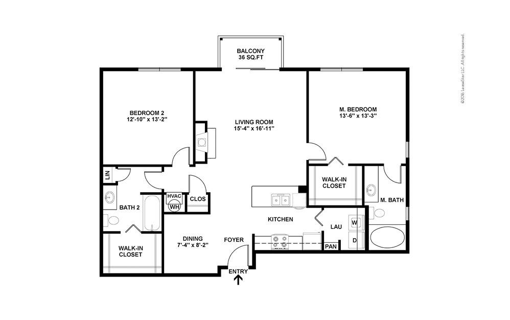 Peak 2 bedroom 2 bath 1168 square feet (2)