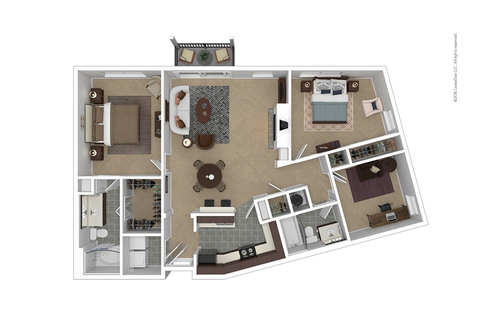 Pinnacle 2 bedroom 2 bath 1235 square feet