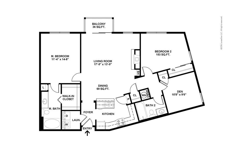 Pinnacle 2 bedroom 2 bath 1235 square feet (2)