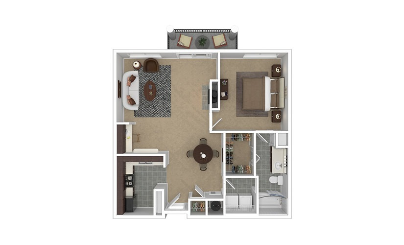 Plateau 1 bedroom 1 bath 881 square feet