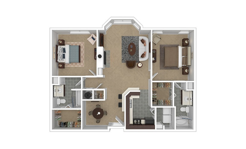 Premier 2 bedroom 2 bath 1199 - 1227 square feet