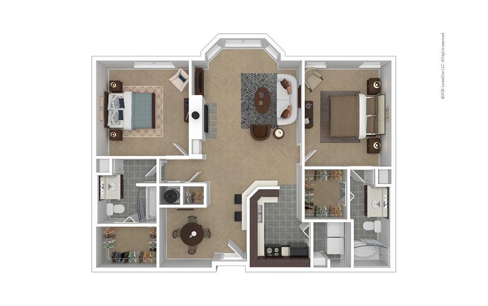 Premier 2 bedroom 2 bath 1199 - 1227 square feet