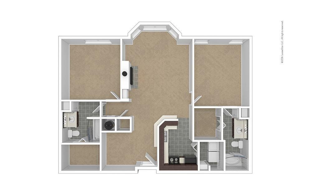 Premier 2 bedroom 2 bath 1199 - 1227 square feet (1)