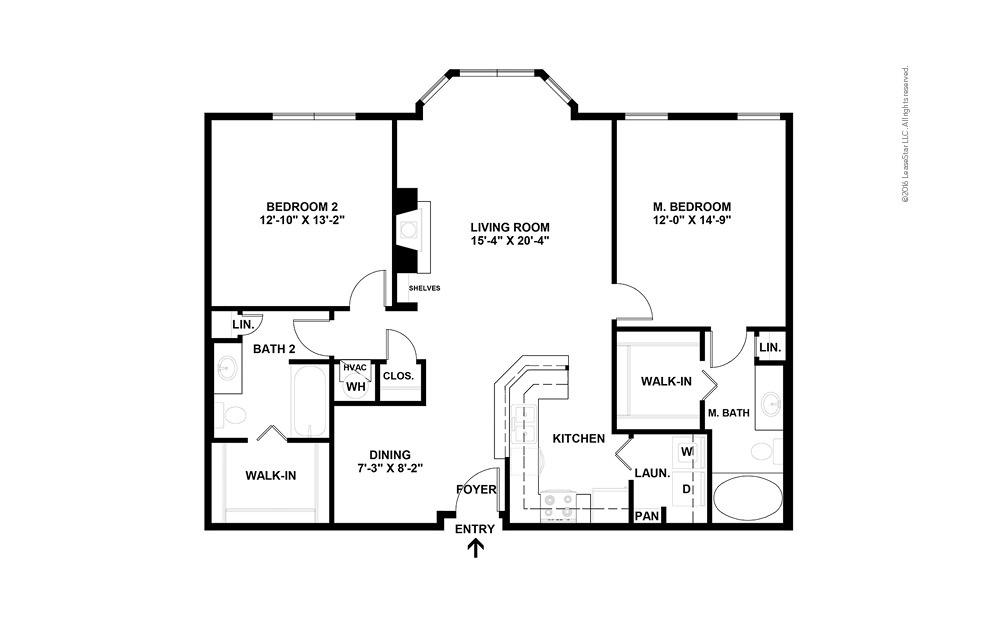 Premier 2 bedroom 2 bath 1199 - 1227 square feet (2)