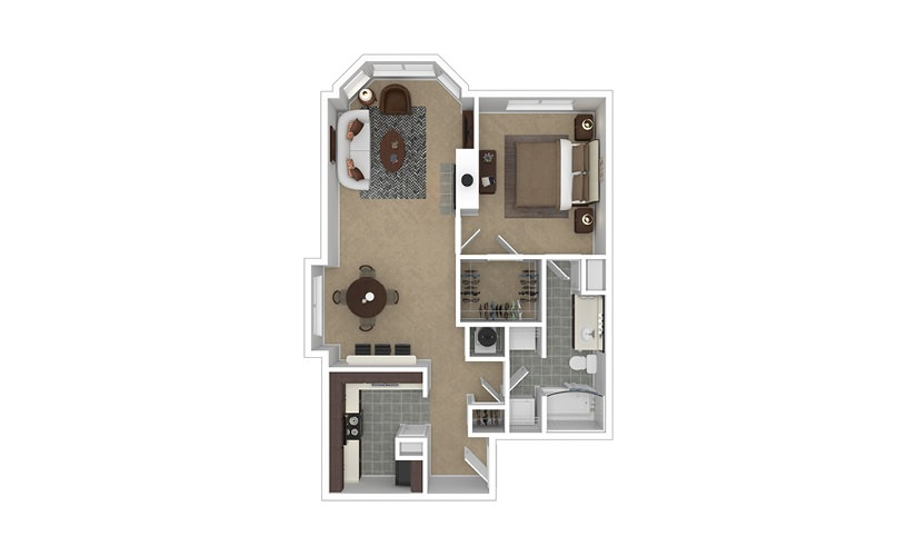Prevalent 1 bedroom 1 bath 810 - 817 square feet