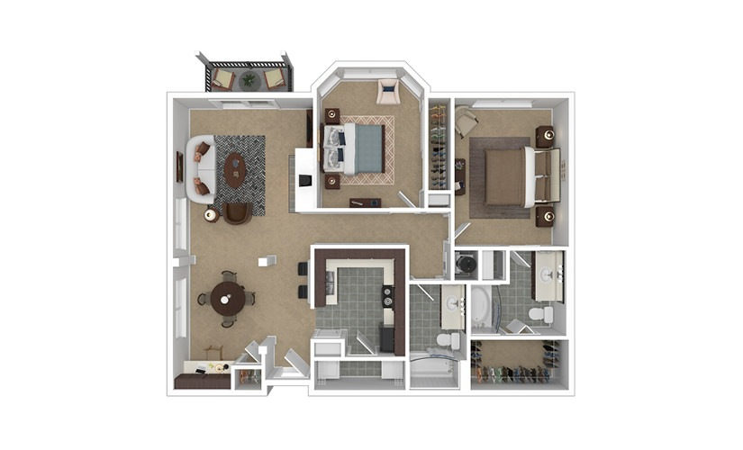 Spire 2 bedroom 2 bath 1136 - 1164 square feet