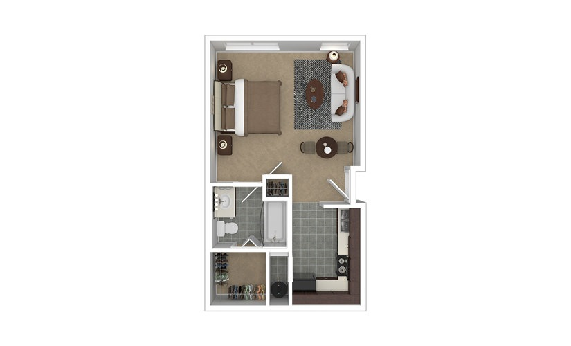 Stature Studio 1 bath 475 square feet