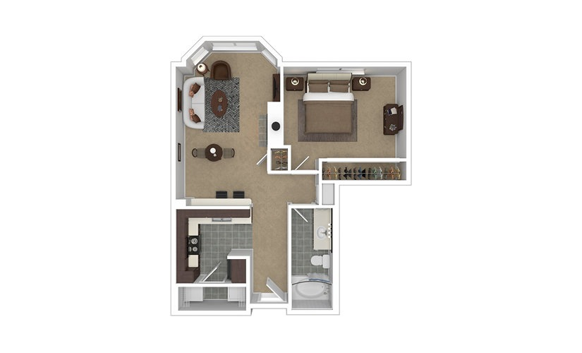 Ultimate 1 bedroom 1 bath 707 square feet