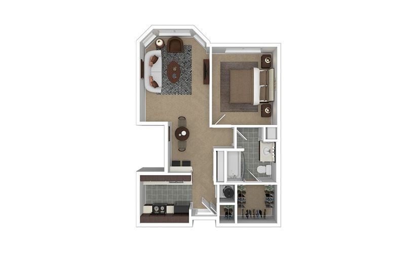 Vantage 1 bedroom 1 bath 643 square feet