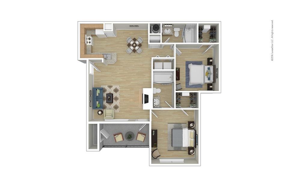 Belgian 2 bedroom 2 bath 993 square feet