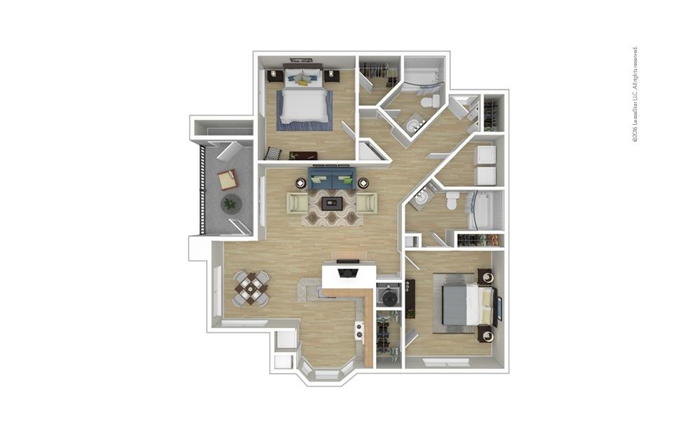 Highland 2 bedroom 2 bath 1244 square feet