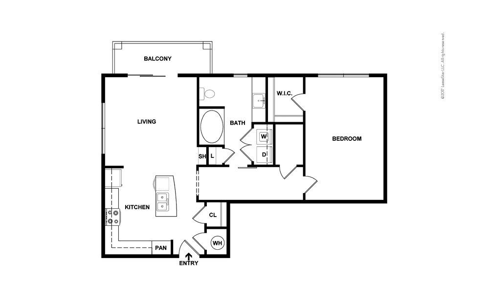 Cove North 1 bedroom 1 bath 855 square feet (2)