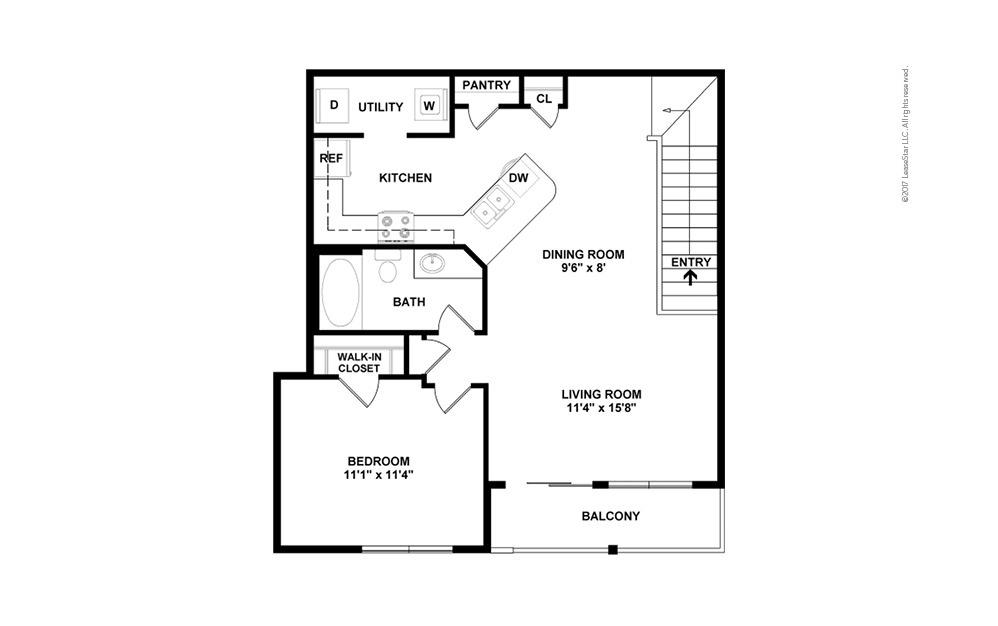 A4 Garage Option 1 bedroom 1 bath 861 square feet (2)