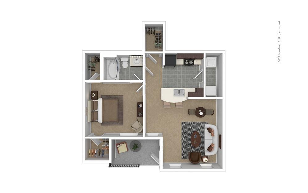 A1 Garage Option 1 bedroom 1 bath 724 square feet