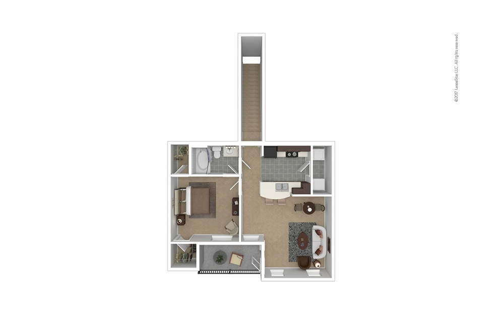 A3 Garage Option 1 bedroom 1 bath 806 square feet
