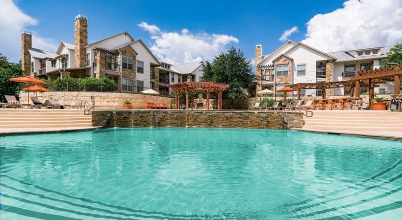 Resort-style pool with sun deck at our luxury apartments near USAA