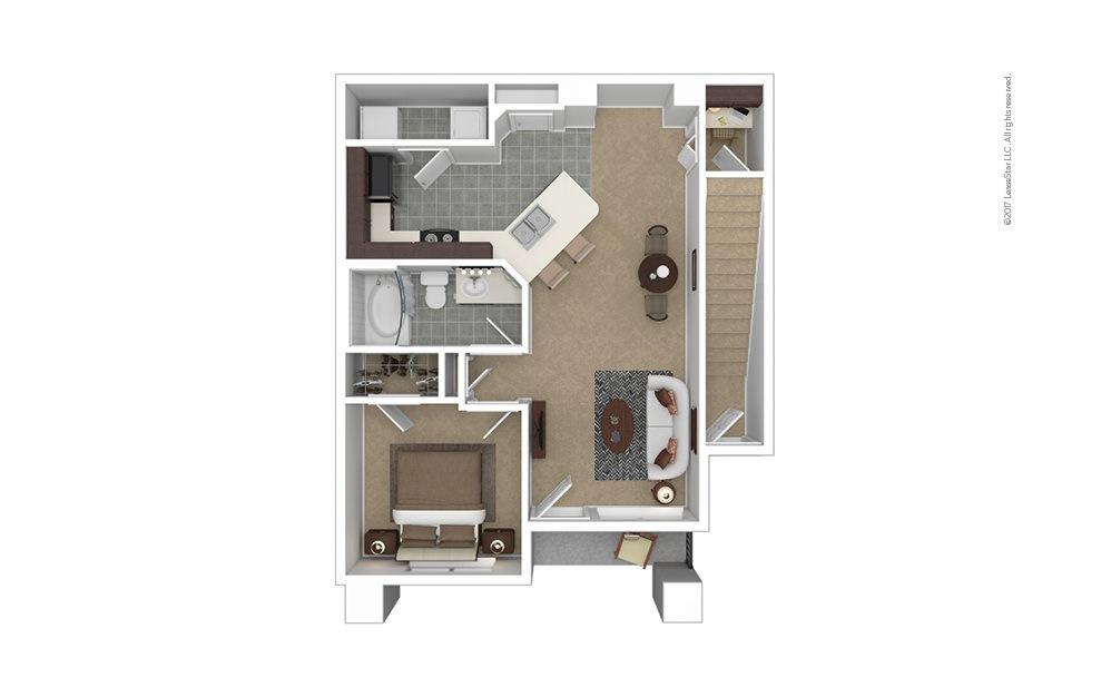 A2 1 bedroom 1 bath 772 square feet