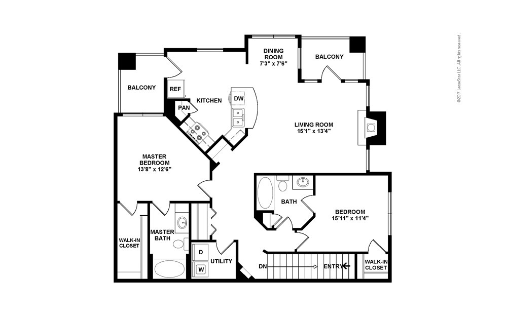 B5 Garage Option 2 bedroom 2 bath 1260 square feet (2)