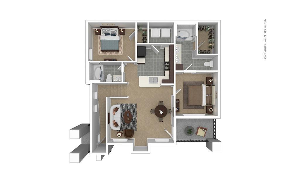 B1 2 bedroom 2 bath 982 square feet