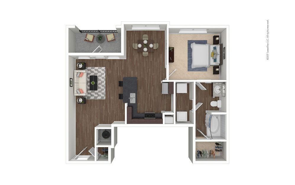 The James 1 bedroom 1 bath 835 square feet