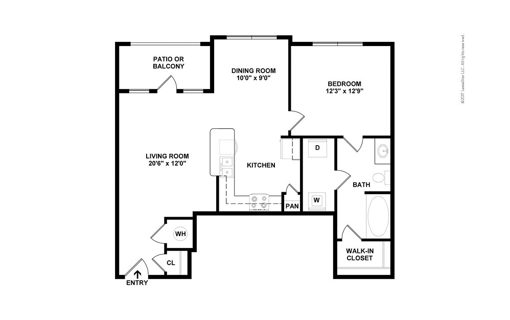 The James 1 bedroom 1 bath 835 square feet (2)