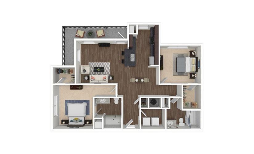 Murray 2 bedroom 2 bath 1215 square feet