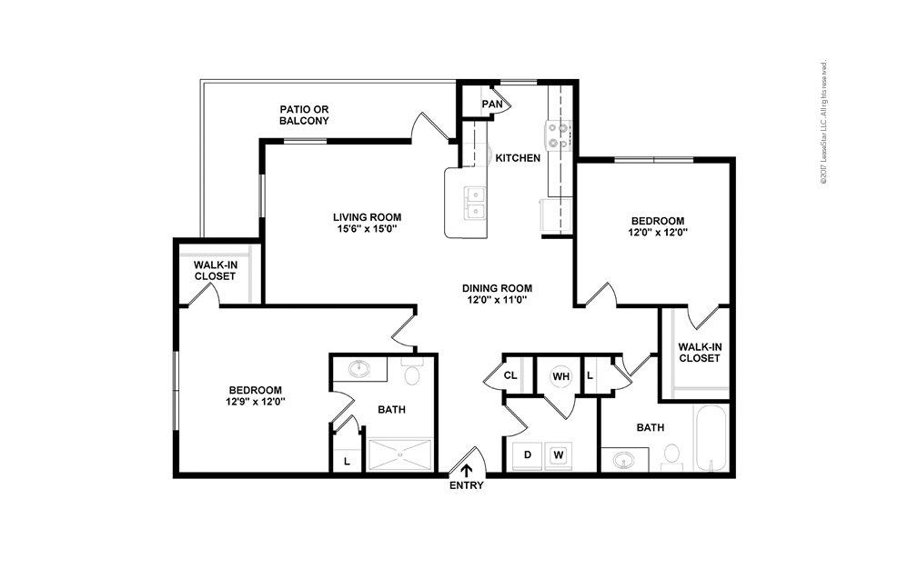 Murray 2 bedroom 2 bath 1215 square feet (2)