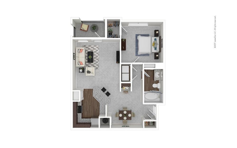A1 1 bedroom 1 bath 890 square feet