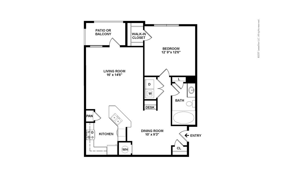 A1 1 bedroom 1 bath 890 square feet (2)
