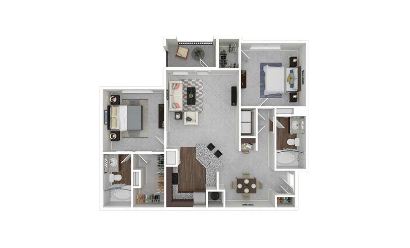 B1 2 bedroom 2 bath 1186 square feet