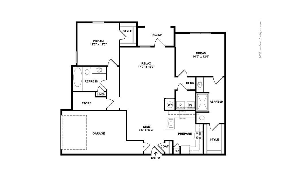 B2 2 bedroom 2 bath 1324 square feet (2)