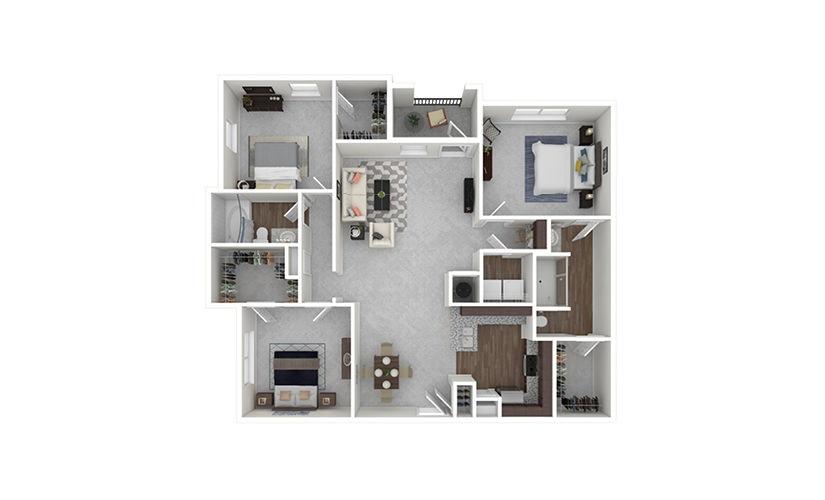 C1 3 bedroom 2 bath 1491 square feet