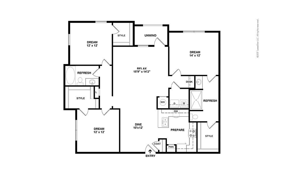 C1 3 bedroom 2 bath 1491 square feet (2)