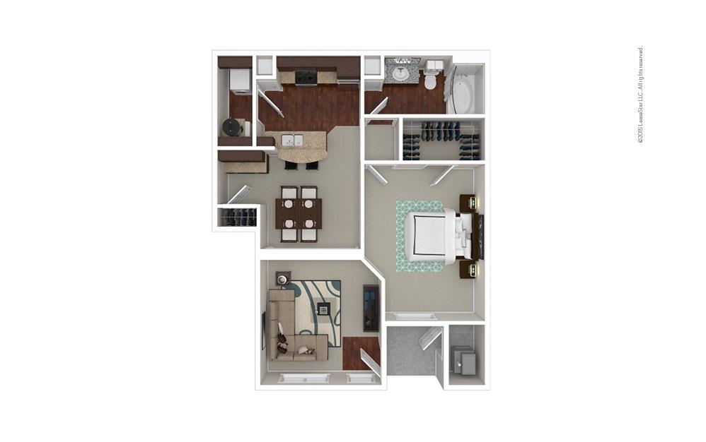 The Columbia 1 bedroom 1 bath 798 square feet