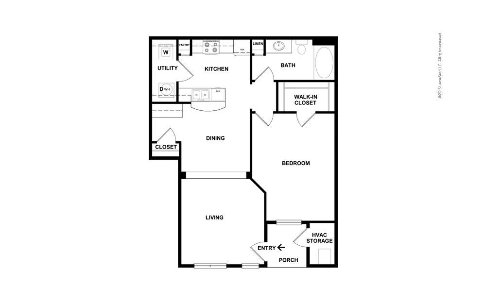 The Columbia 1 bedroom 1 bath 798 square feet (2)