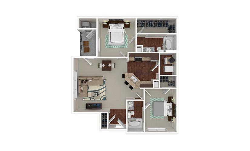 The Cornell 2 bedroom 2 bath 1049 square feet