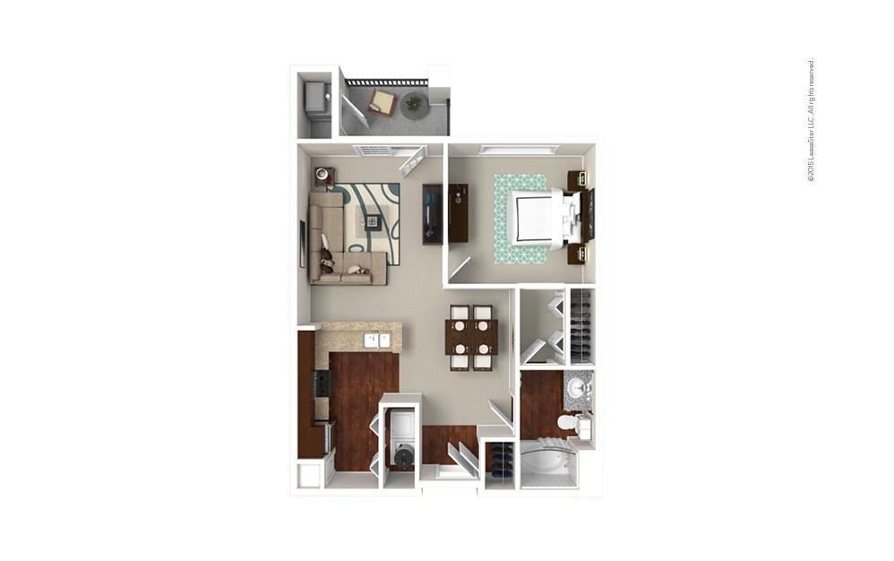 The Oxford 1 bedroom 1 bath 777 square feet