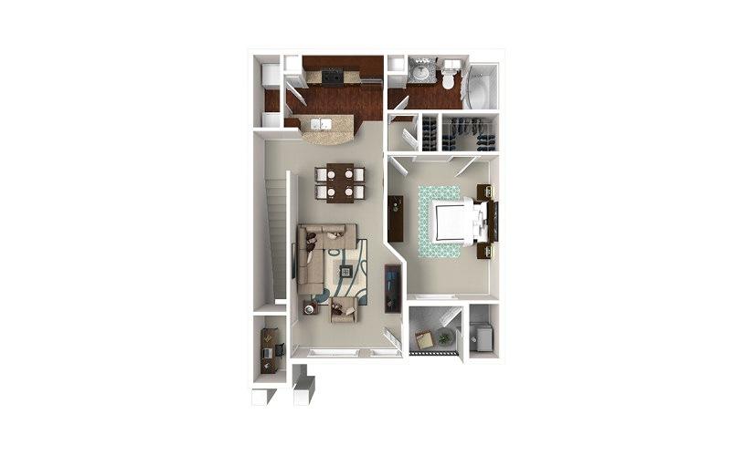 The Vanderbilt 1 bedroom 1 bath 859 square feet