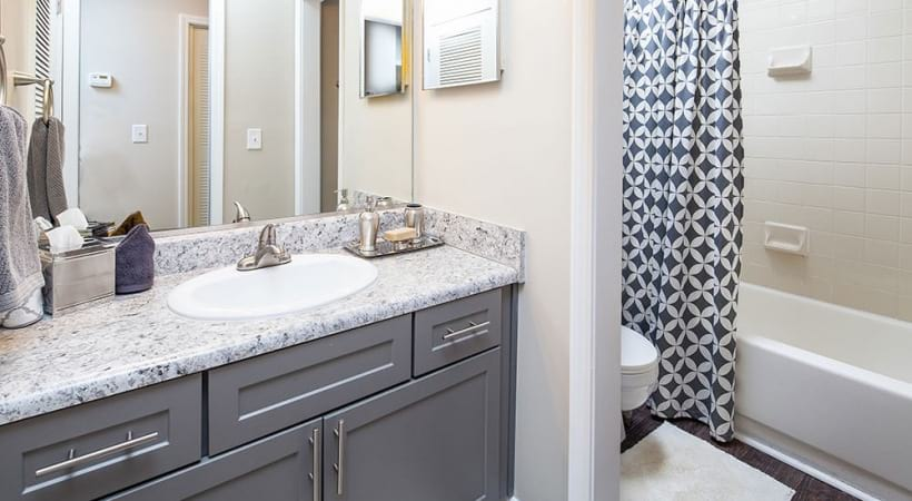 Bathroom with Granite Countertops at our Cortland Apartments