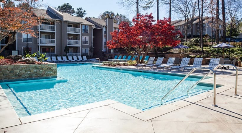 Resort-style pools at our modern apartments for rent in Smyrna, GA