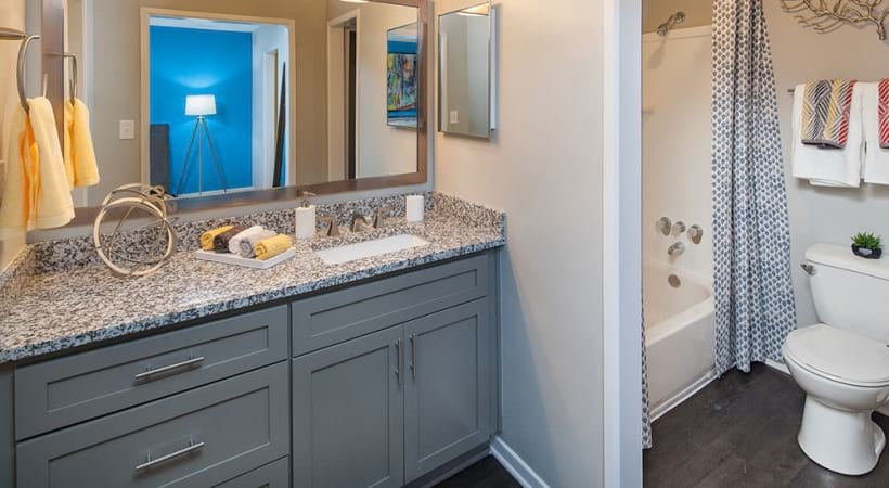 spacious bathroom at our Cortland Apartments
