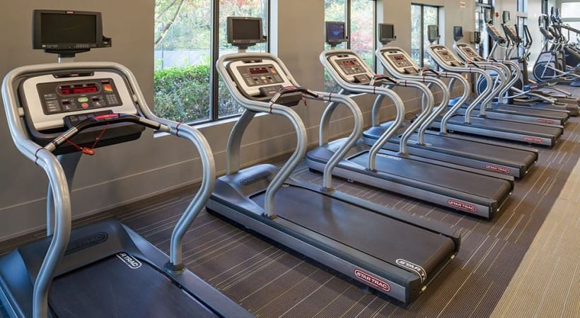 Treadmills at the 24/7 gym of our modern apartments in Cobb County