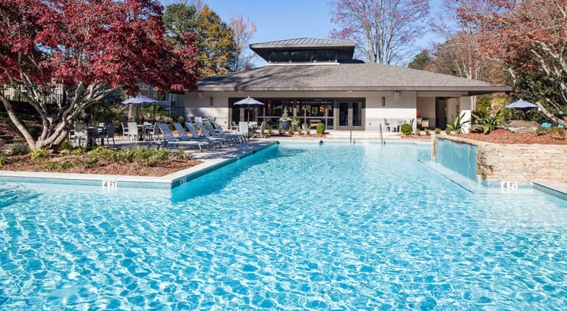 Resort-style pool at our modern apartments near Cumberland Mall